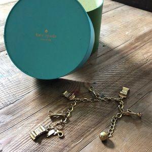 Kate Spade gold bows charm bracelet